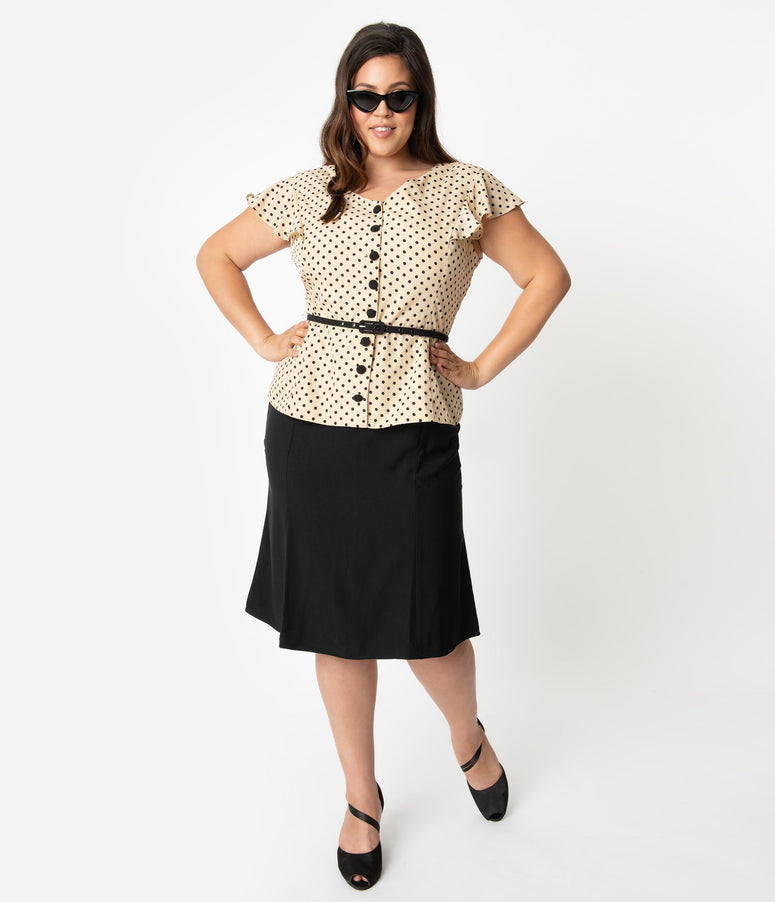 Unique Vintage Plus Size 1940s Style Cream & Black Dotted Ivy Suit Dress