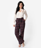 Unique Vintage 1940s Style Black & Red Plaid Paper Bag High Waisted Myrna Pants
