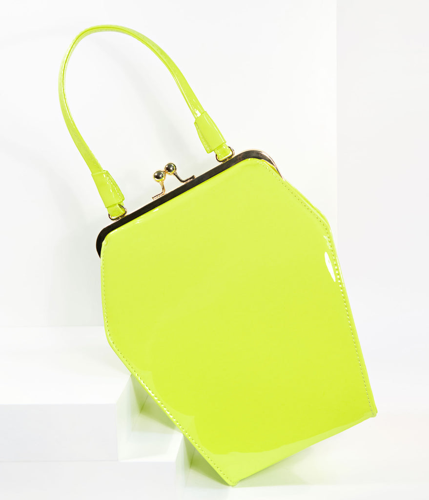 Chartreuse Yellow Patent Leatherette To Die For Purse