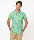 Unique Vintage Mint Cactus Print Mens Shirt