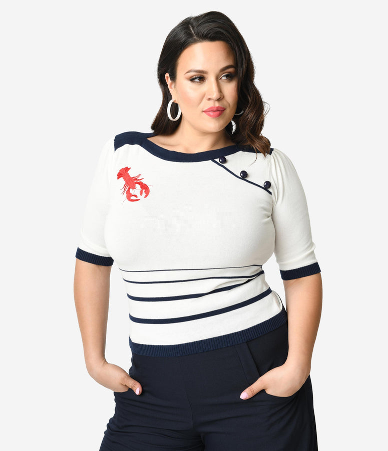 Collectif Plus Size Ivory & Navy Knit Red Lobster Half Sleeve Armanda Sweater