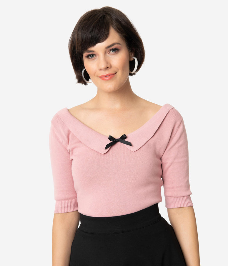 Collectif Dusty Pink Cotton Knit Babette Half Sleeve Sweater Top
