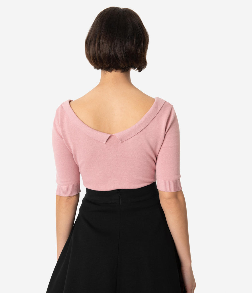 74413b44043f2 ... Collectif Dusty Pink Cotton Knit Babette Half Sleeve Sweater Top ...