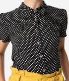 Collectif 1950s Style Black & White Polka Dot Button Up Avery Blouse