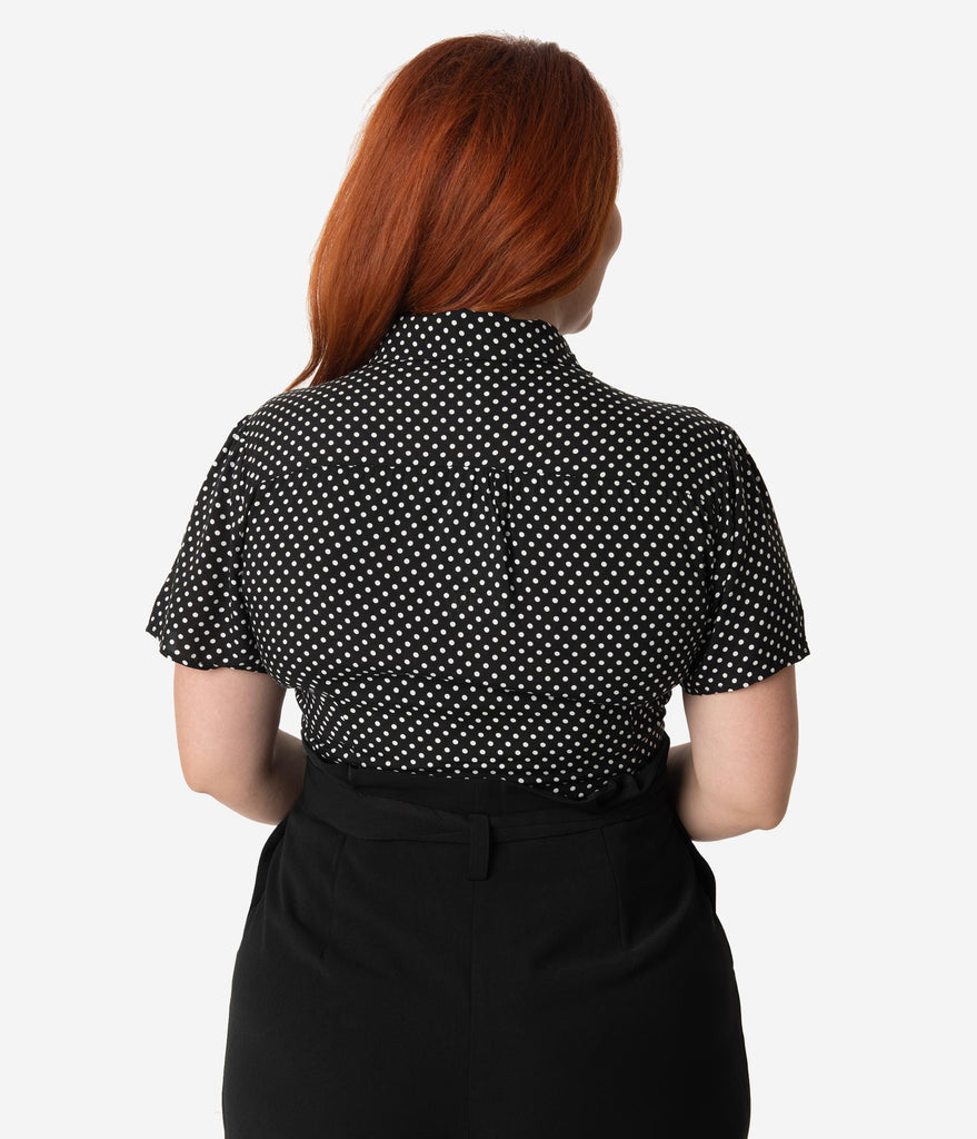 Collectif Plus Size 1950s Style Black & White Polka Dot Button Up Avery Blouse