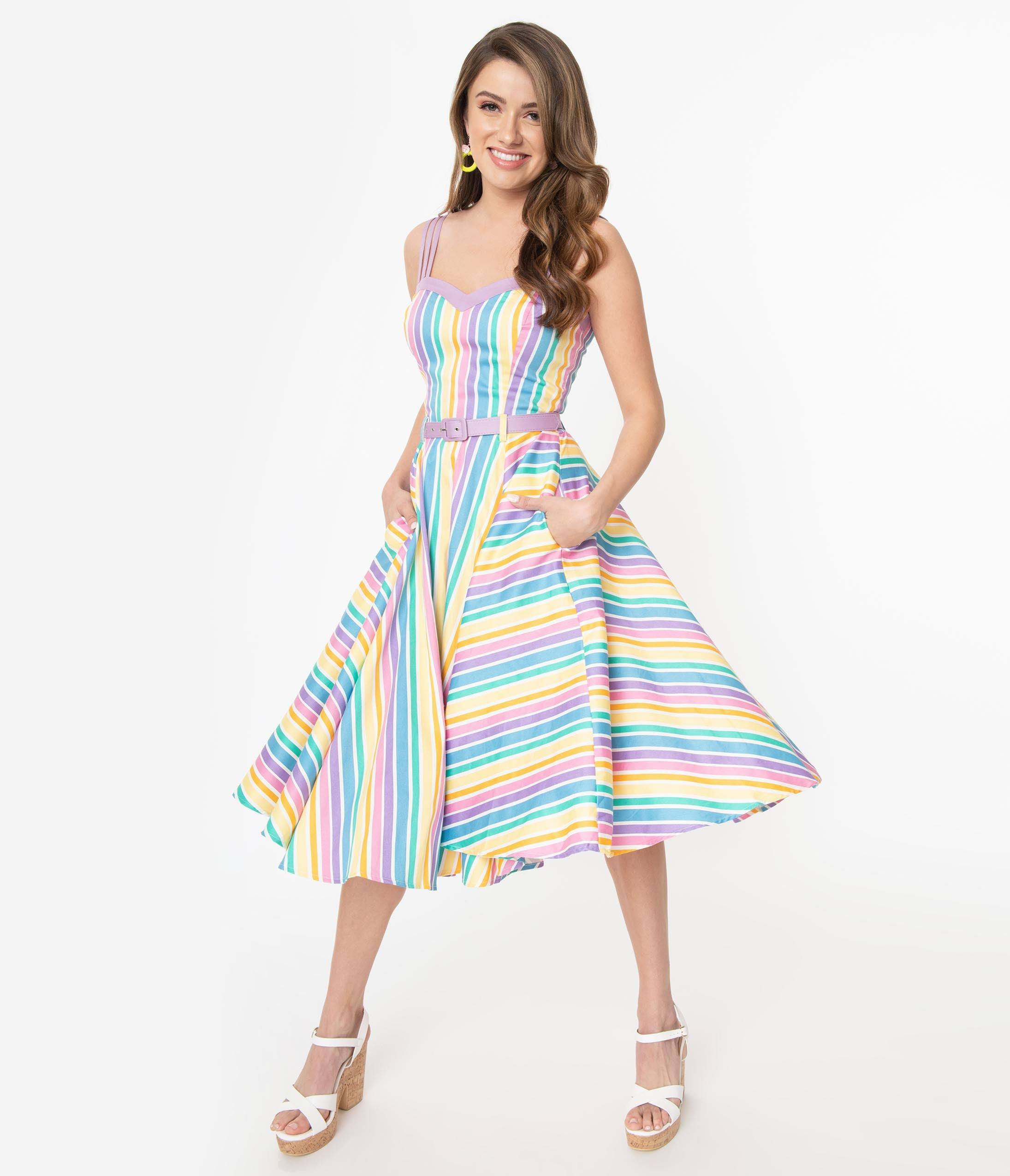 1950s Swing Dresses | 50s Swing Dress Collectif Retro Pastel Rainbow Stripe Cotton Nova Swing Dress $88.00 AT vintagedancer.com