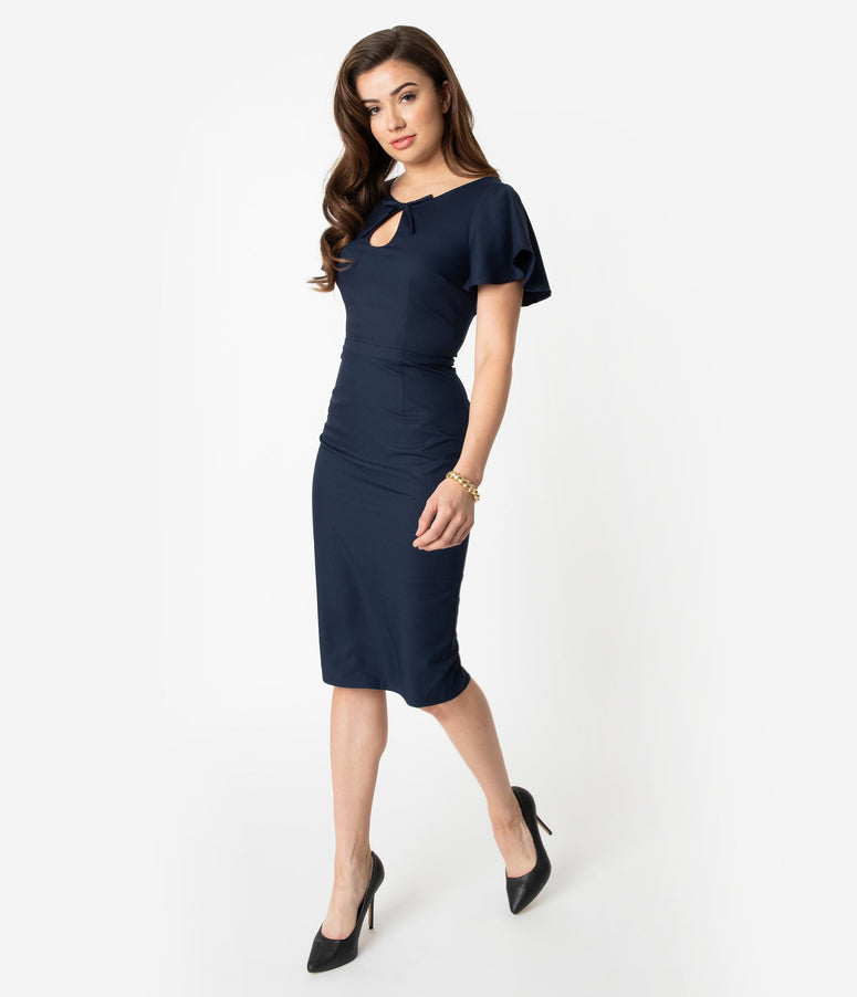 Collectif Navy Blue Butterfly Sleeve Keyhole Selma Pencil Dress