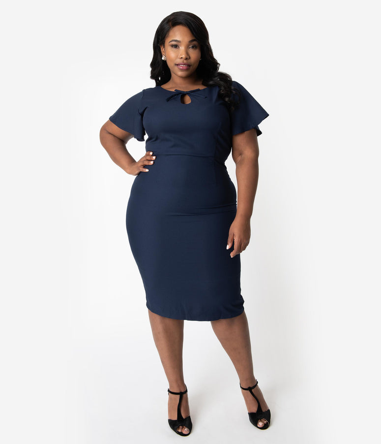 Collectif Plus Size Navy Blue Butterfly Sleeve Keyhole Selma Pencil Dress