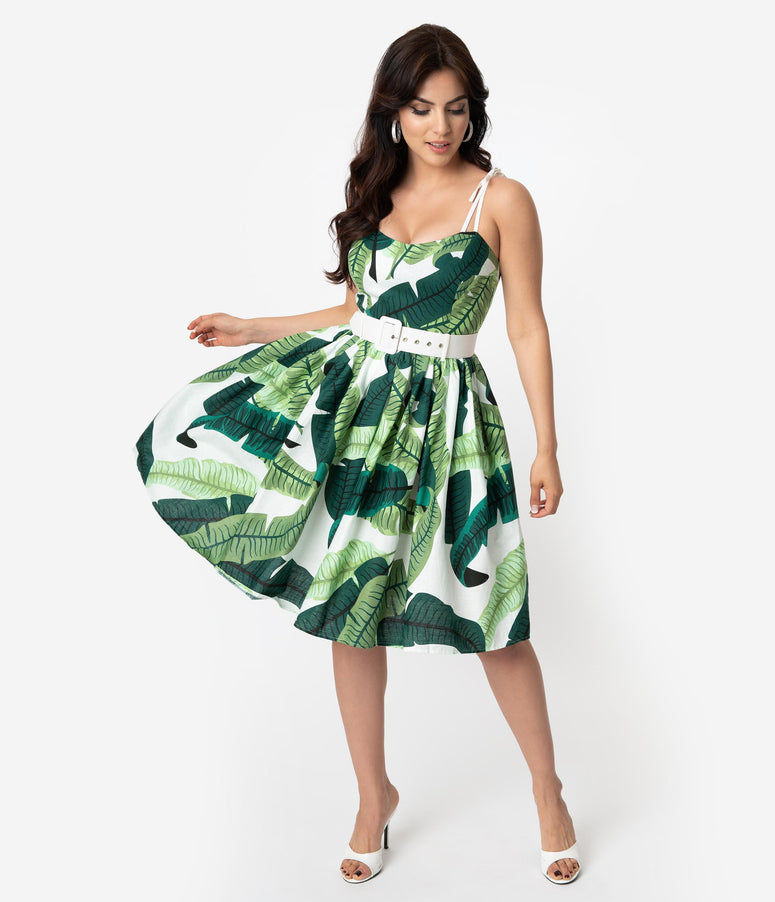 Collectif 1950s Green & Ivory Banana Leaf Print Jade Swing Dress