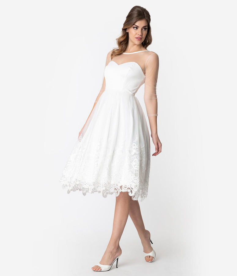 Collectif White Illusion Lace Tea Length Alisa Bridal Swing Dress
