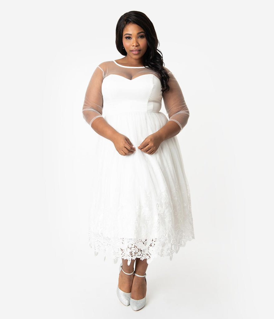 Collectif Plus Size White Illusion Lace Tea Length Alisa Bridal Swing Dress
