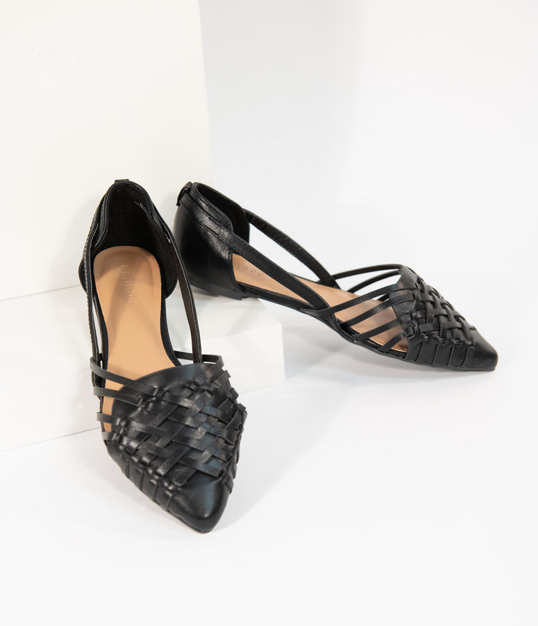 Black Woven Leatherette Pointed Toe Flats