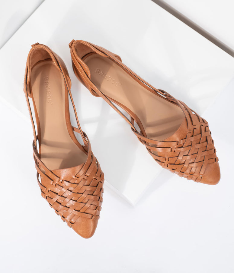 29104d7ed6ce25 Tan Woven Leatherette Pointed Toe Flats