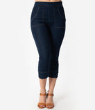Voodoo Vixen 1950s Style Dark Blue Cotton Denim Eva Capri Jeans