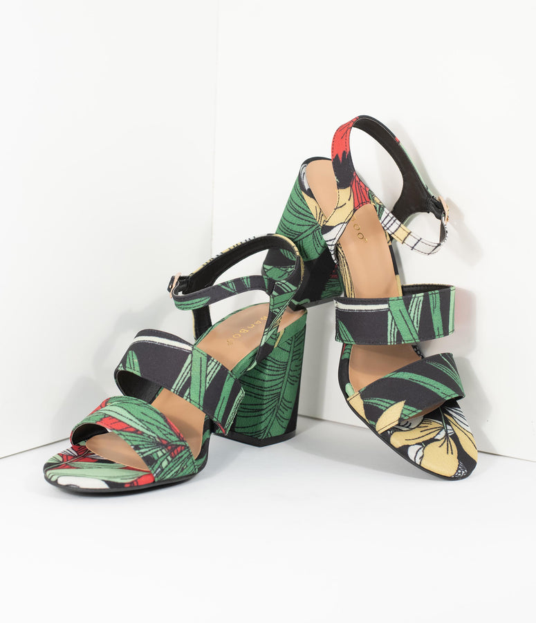 78716d1de58e8e Black   Green Tropical Print Peep Toe Sandal Heels