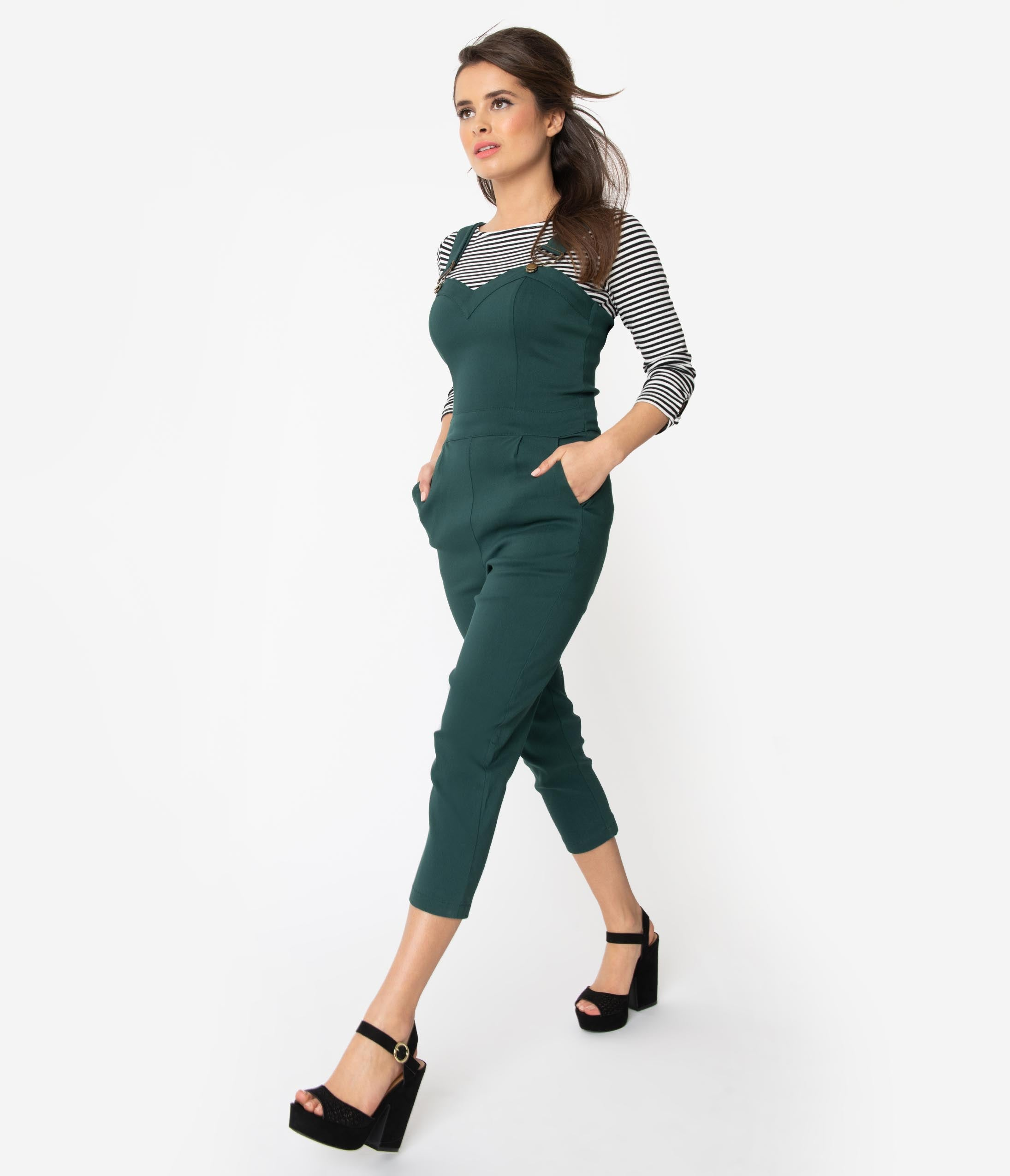 cca632d8e61c Voodoo Vixen Emerald Green Fitted Capri Connie Overalls