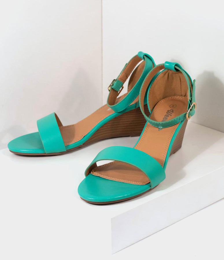 fa5271a8780 Retro Style Mint Green Leatherette Wedge Sandal