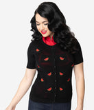 Voodoo Vixen 1950s Black & Red Embroidered Watermelon Short Sleeve Eliana Cardigan