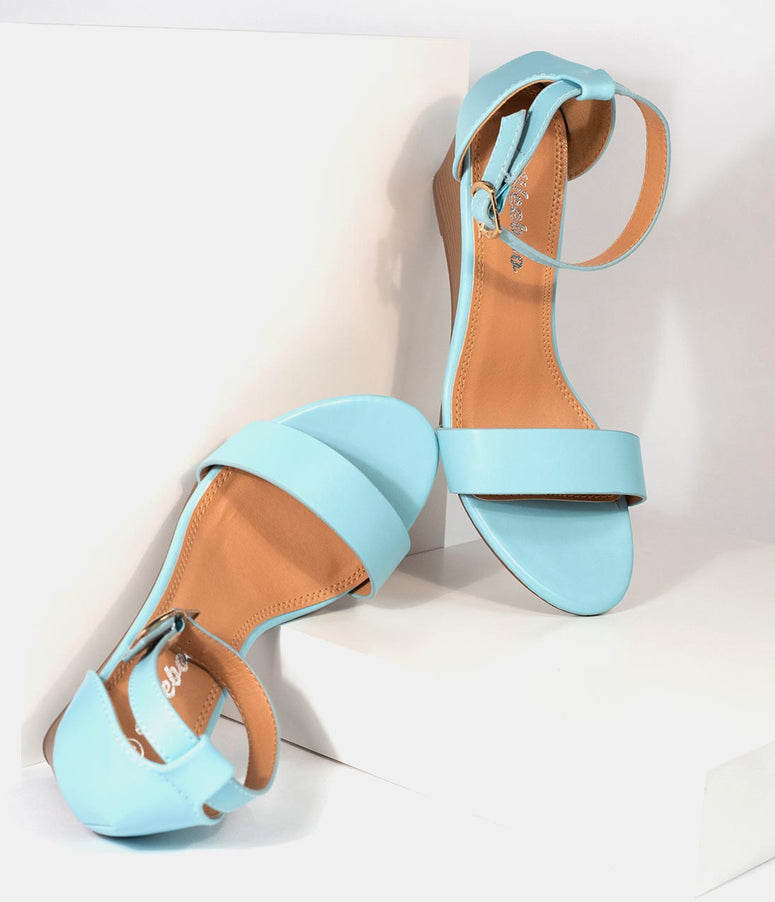 Retro Style Sky Blue Leatherette Wedge Sandal