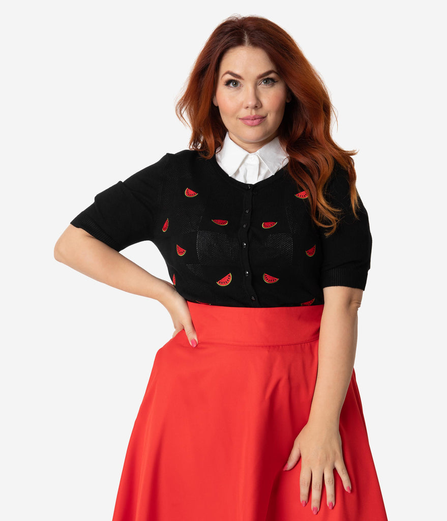 Voodoo Vixen Plus Size 1950s Black & Red Embroidered Watermelon Short Sleeve Eliana Cardigan