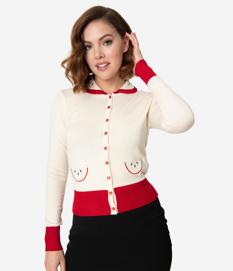 Voodoo Vixen Cream & Red Apple Clara Cardigan