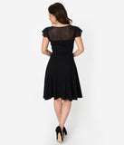 Voodoo Vixen Black Swiss Dot Mesh Flutter Sleeve Victoria Swing Dress