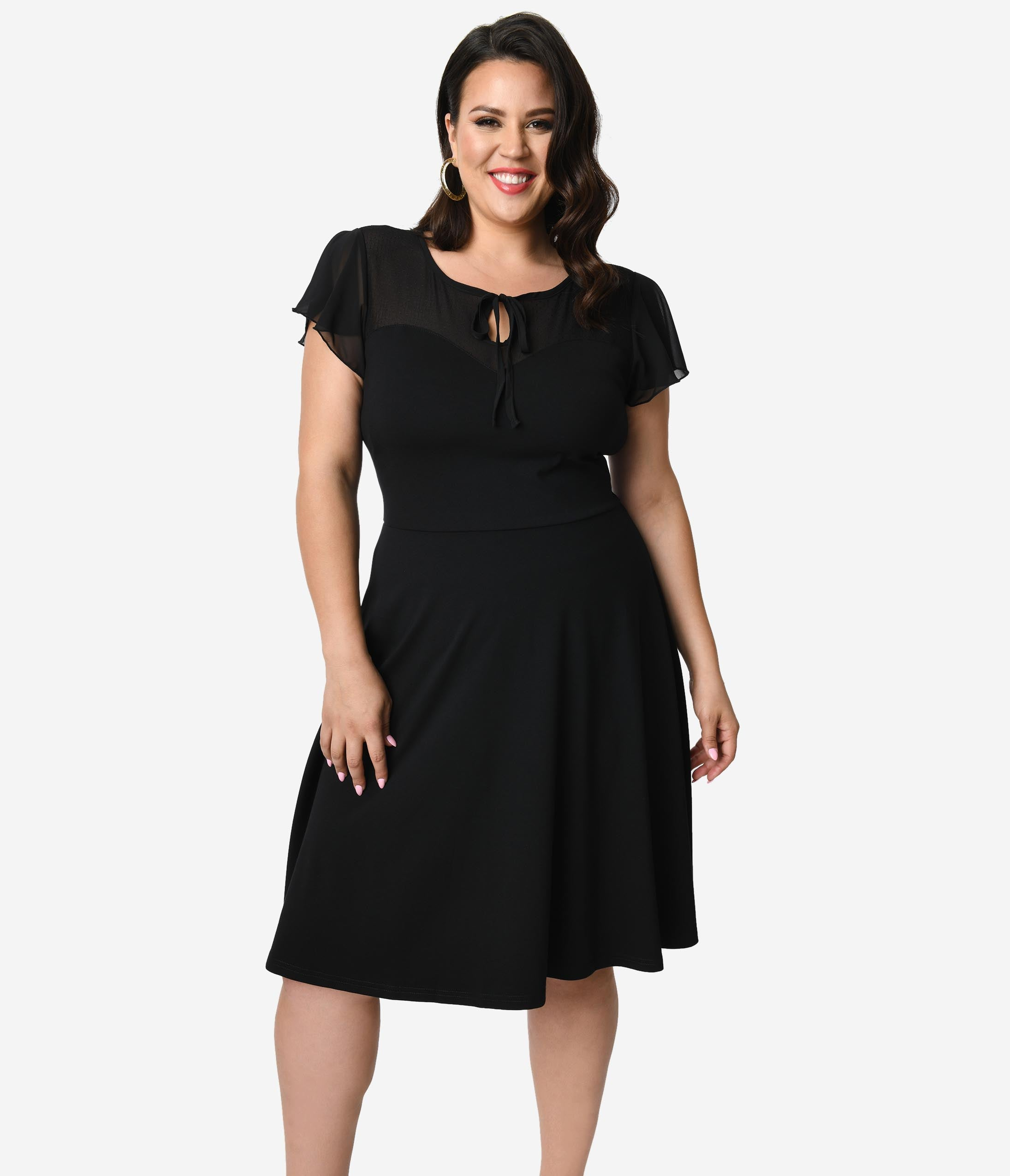 1940s Plus Size Clothing: Dresses History Voodoo Vixen Plus Size Black Swiss Dot Mesh Flutter Sleeve Victoria Swing Dress $68.00 AT vintagedancer.com