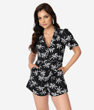 Voodoo Vixen Black & White Palm Tree Print Short Sleeve Lauren Romper Playsuit