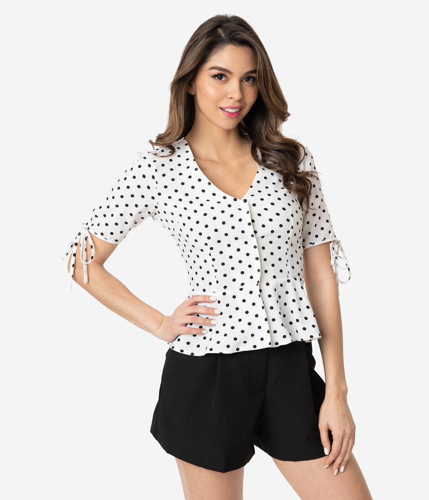 e5b306e4b89067 Voodoo Vixen White   Black Polka Dot Alice Peplum Blouse – Unique Vintage