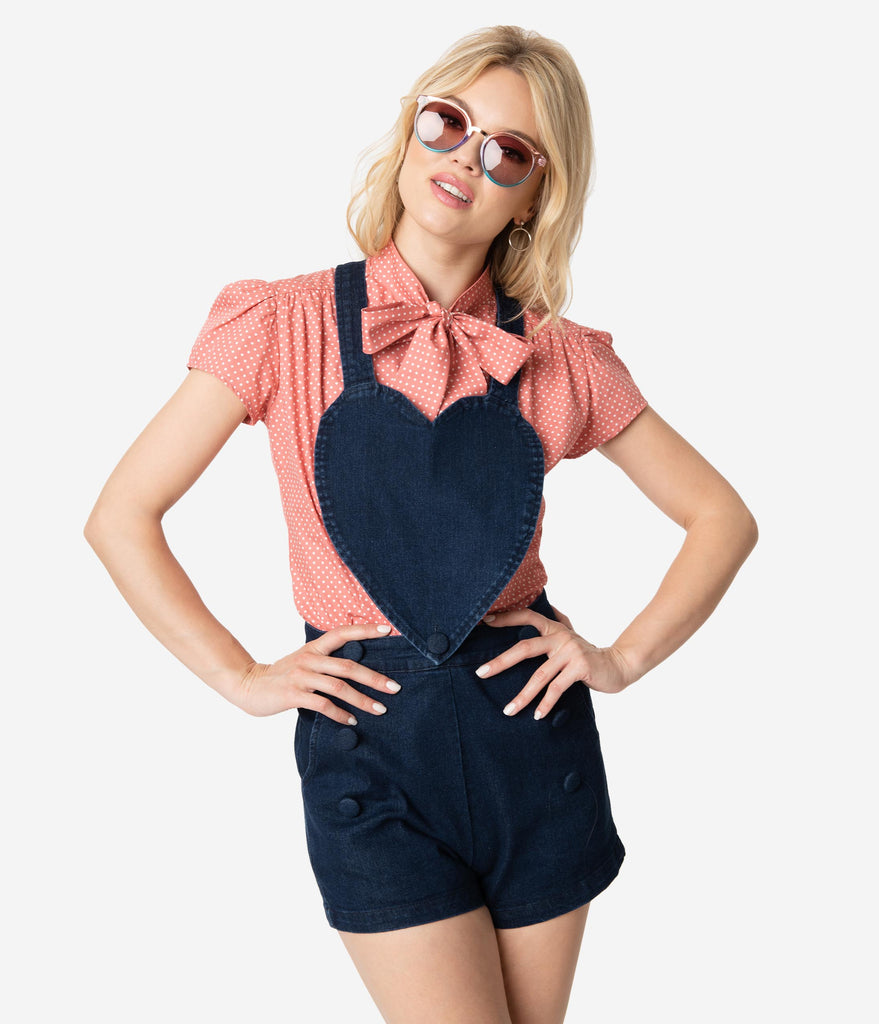 Voodoo Vixen Dark Denim Heart Rosie Jean Playsuit