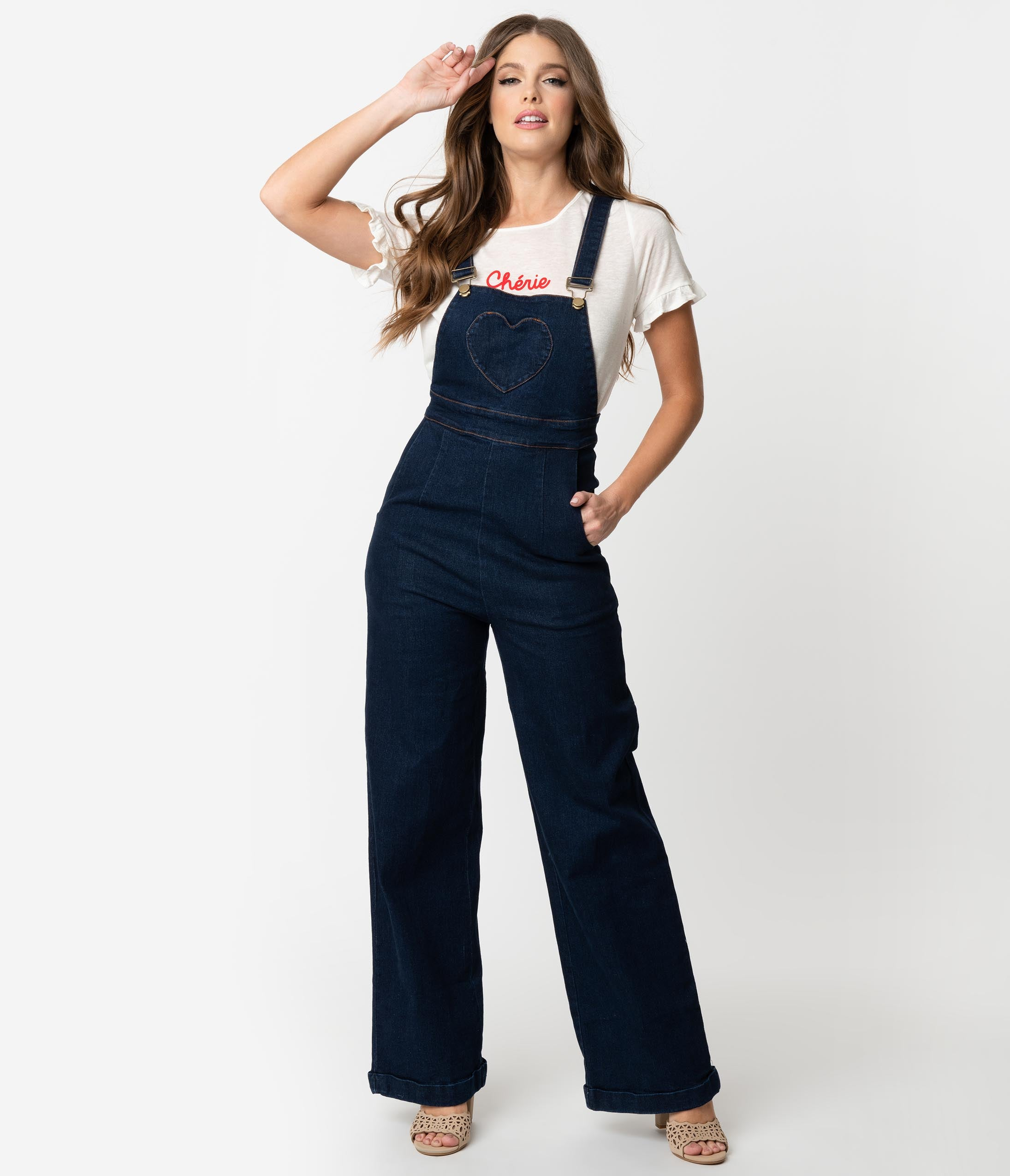 Vintage Overalls 1910s -1950s History & Shop Overalls Voodoo Vixen Dark Denim Blue Jeans Cotton Heart Pocket Natalia Overalls $88.00 AT vintagedancer.com