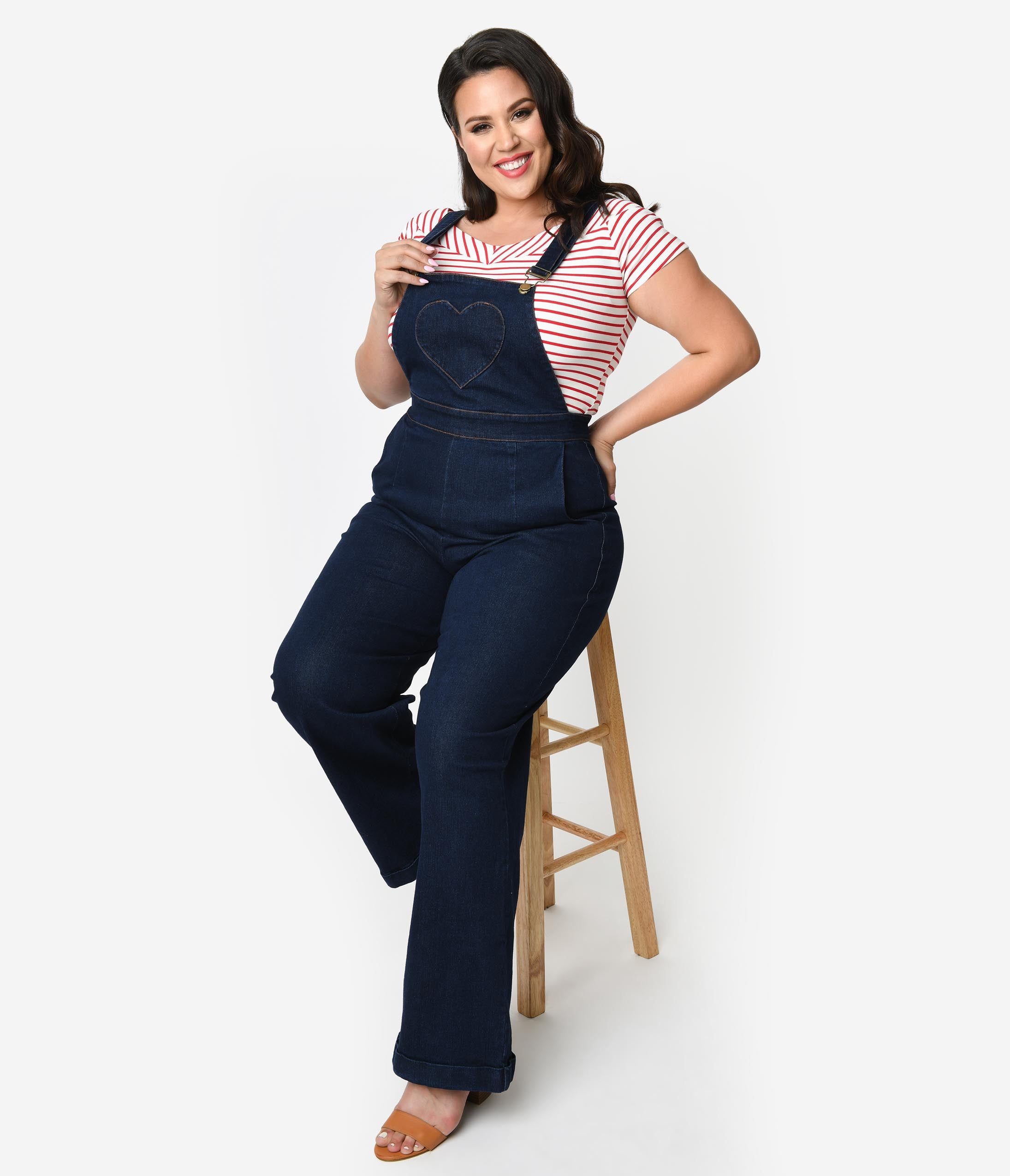 Vintage Overalls 1910s -1950s History & Shop Overalls Voodoo Vixen Plus Size Dark Denim Blue Jeans Cotton Heart Pocket Natalia Overalls $88.00 AT vintagedancer.com