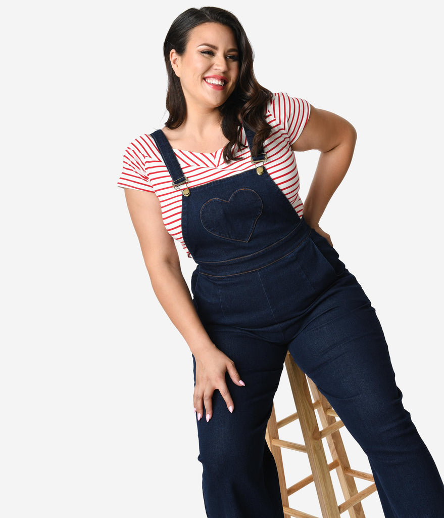 Voodoo Vixen Plus Size Dark Denim Blue Jeans Cotton Heart Pocket Natalia Overalls