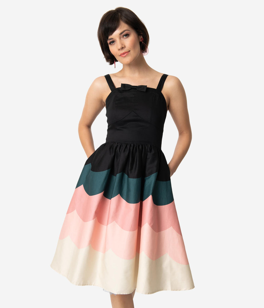 Voodoo Vixen 1950s Style Black & Pink Scallop Border Print Sally Swing Dress