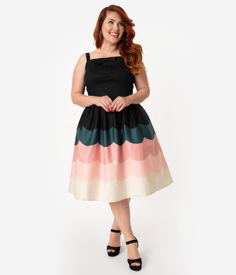 Voodoo Vixen Plus Size 1950s Style Black & Pink Scallop Border Print Sally Swing Dress