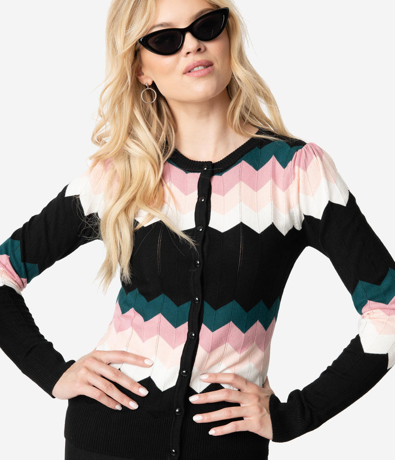 771f88ab1 Voodoo Vixen 1950s Black   Pink Chevron Knit Long Sleeve Julia Cardigan