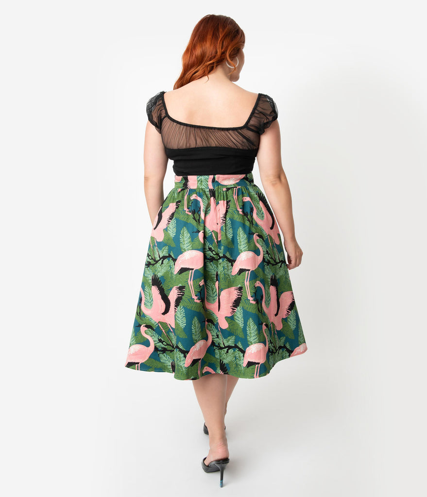 Voodoo Vixen Plus Size 1950s Style Green & Pink Flamingo Print High Waist Emma Swing Skirt