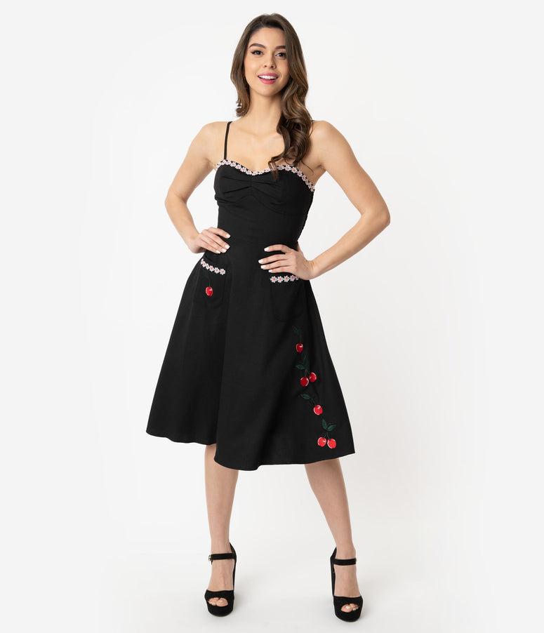 Voodoo Vixen 1950s Black Daisy & Cherry Embroidered Layla Swing Dress