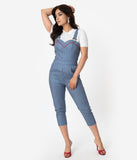 Voodoo Vixen Blue & White Stripe Cherry Print Bailey Overall Jumpsuit