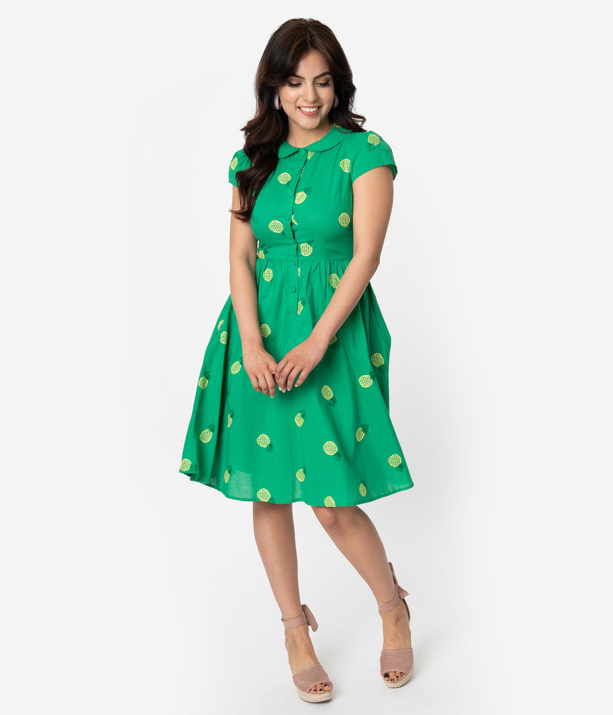 Voodoo Vixen Green Cotton Pineapple Embroidery Button Front Pillipa Swing Dress