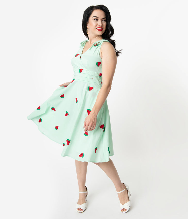 Voodoo Vixen 1950s Style Mint Embroidered Watermelon Slices Delia Swing Dress