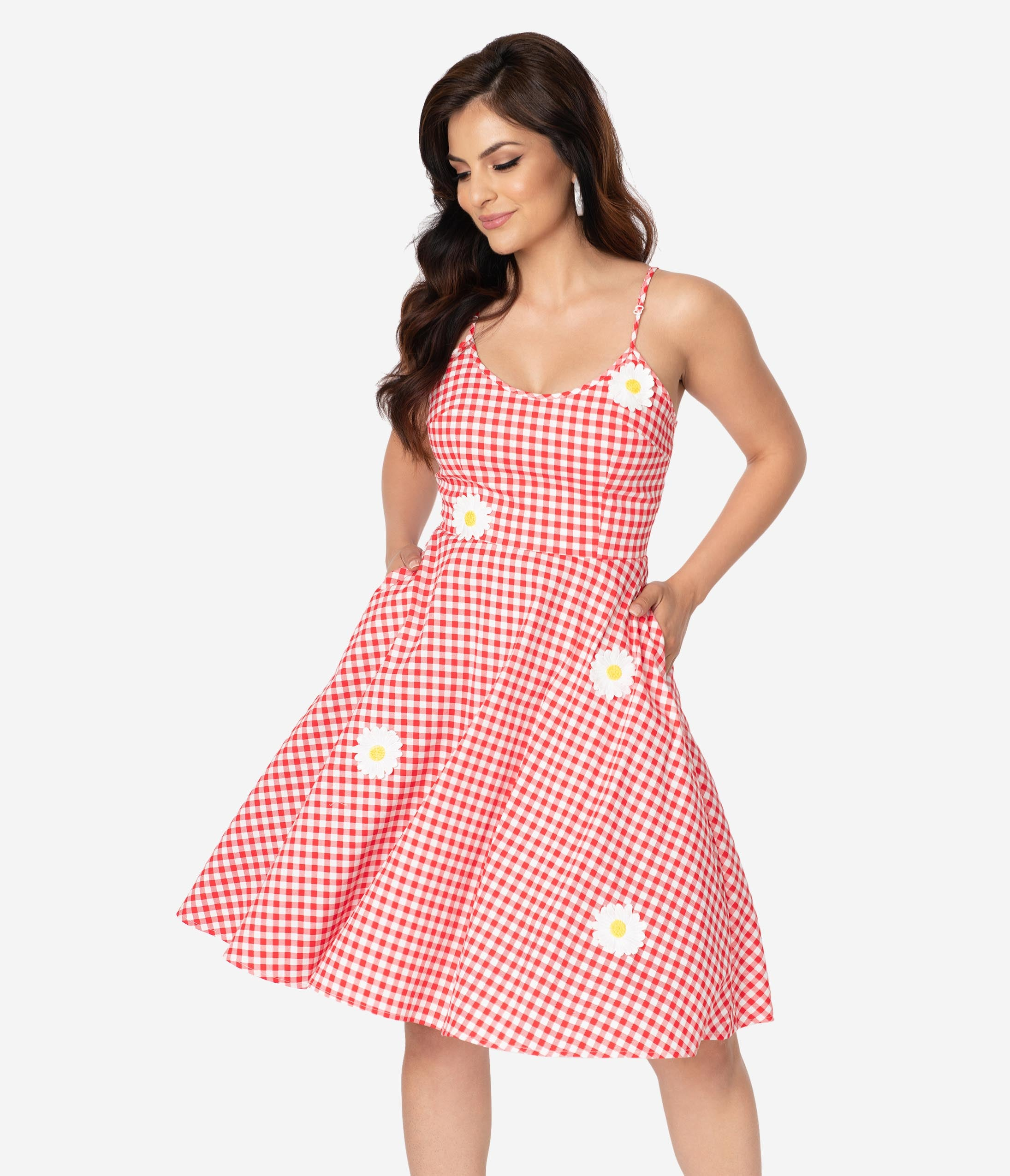 Checkered Gingham Print Swing-Skirt Spaghetti Strap Applique Embroidered Pocketed Fitted Cotton Dress