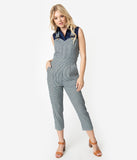 Voodoo Vixen Navy Blue & White Stripe Fitted Capri Anthea Overalls