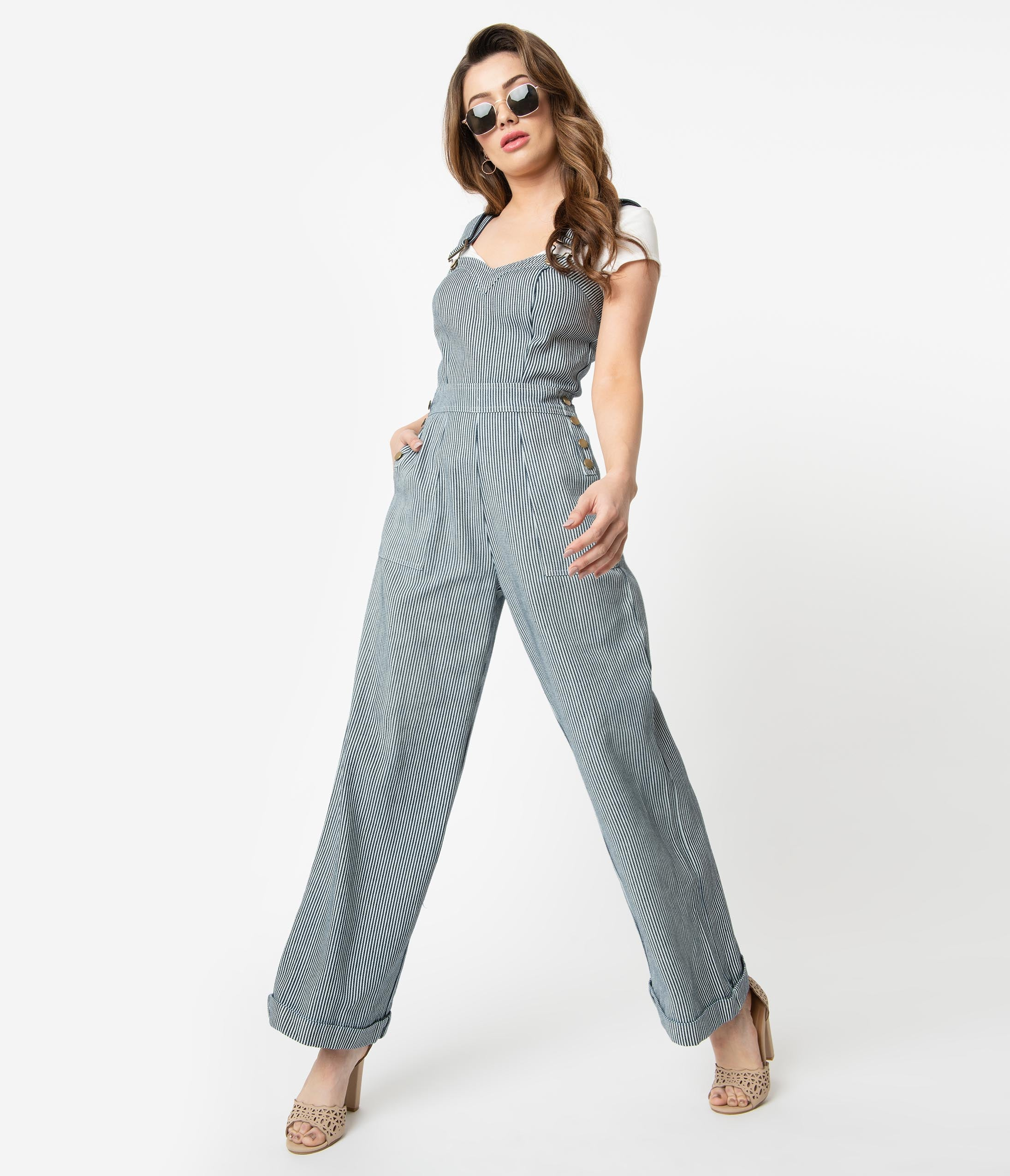 1940s Clothing Voodoo Vixen Navy  White Engineer Stripe Wide Leg Margaret Overalls Jumpsuit $88.00 AT vintagedancer.com