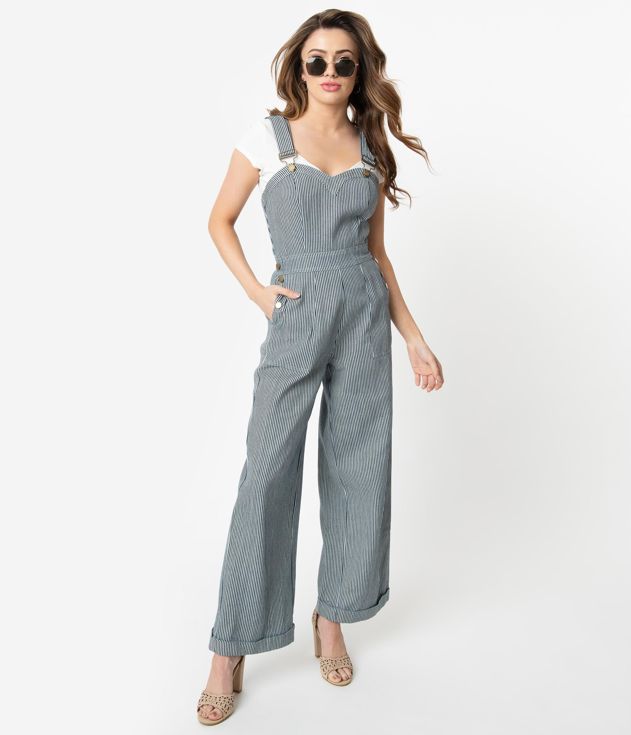 Voodoo Vixen Anthea Fitted Stripe Overalls Vintage style