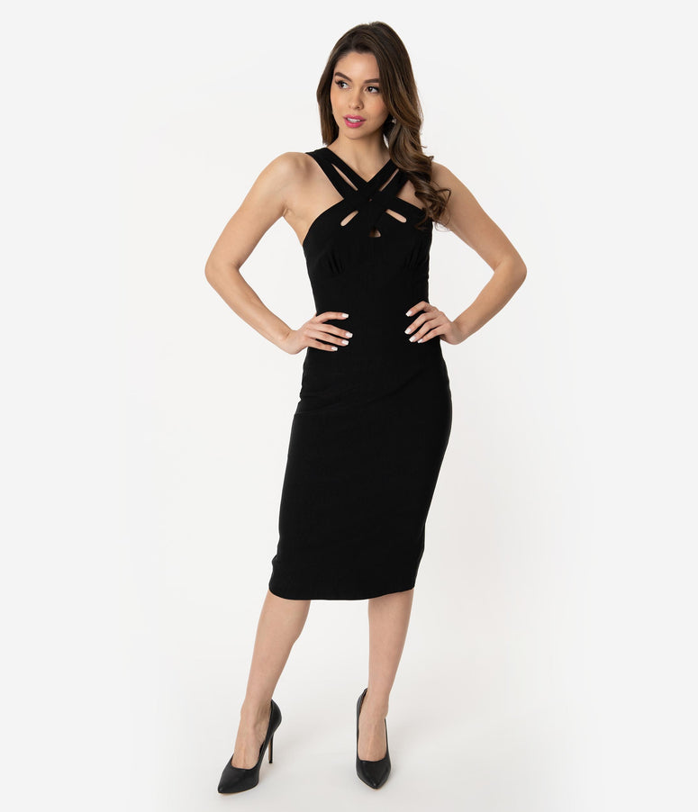 Voodoo Vixen Black Cross Strap Sleeveless Lillian Pencil Dress