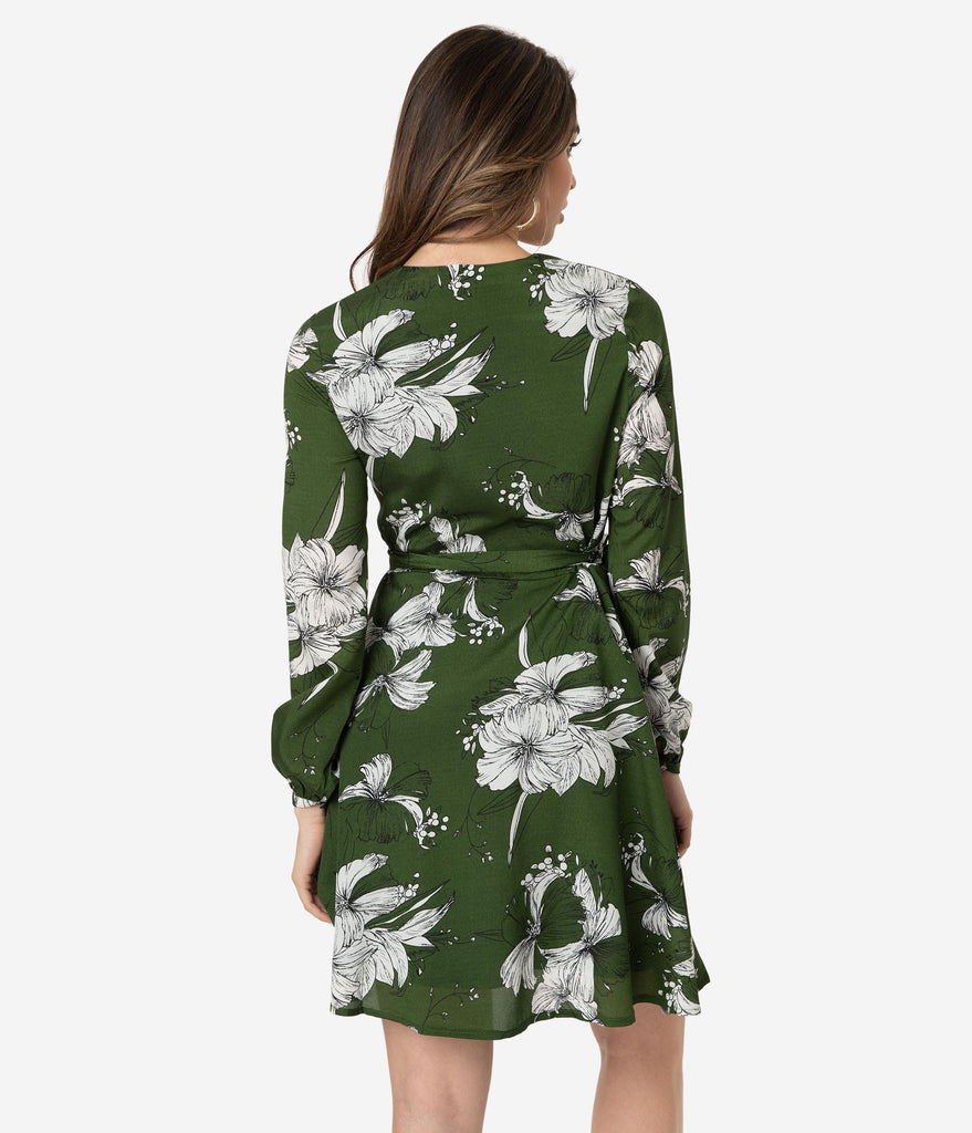 182709a620cb ... Voodoo Vixen 1960s Style Green & White Floral Print Long Sleeve Wrap  Dress ...