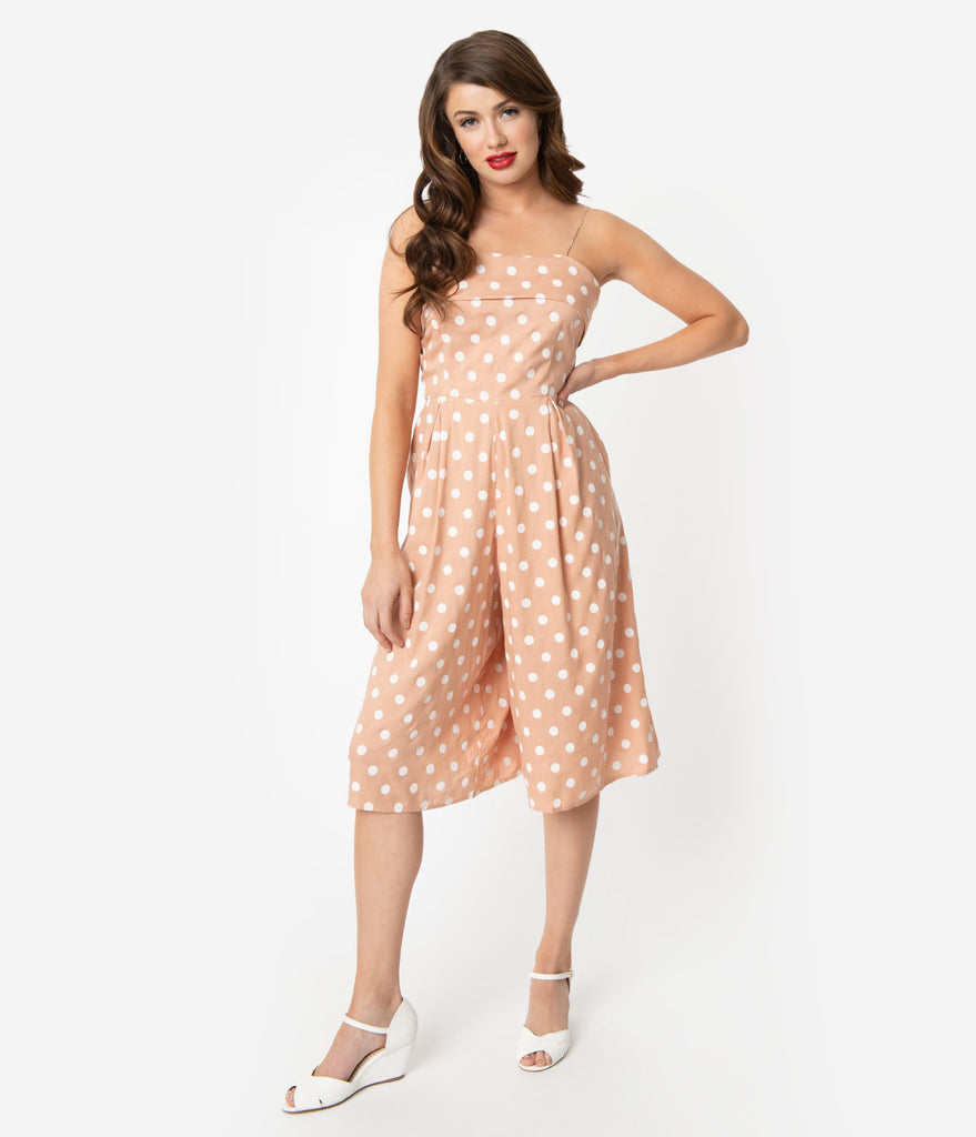 Unique Vintage Peach & White Polka Dot Wide Leg Nancy Romper