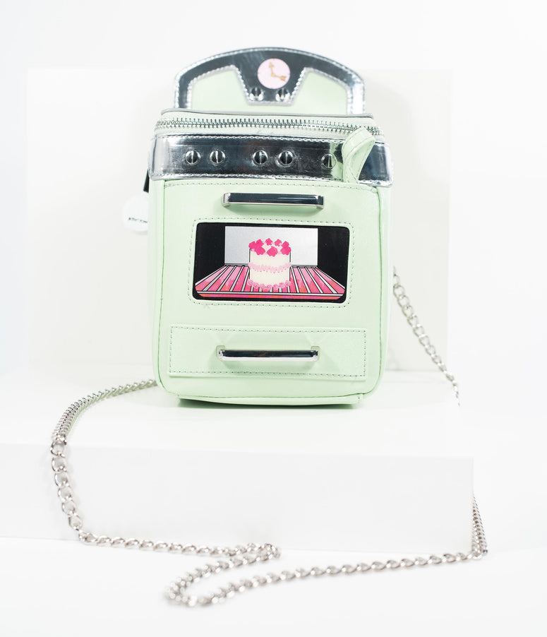 Betsey Johnson Mint Sparkle & Silver Bake It Like Betsey Oven Crossbody