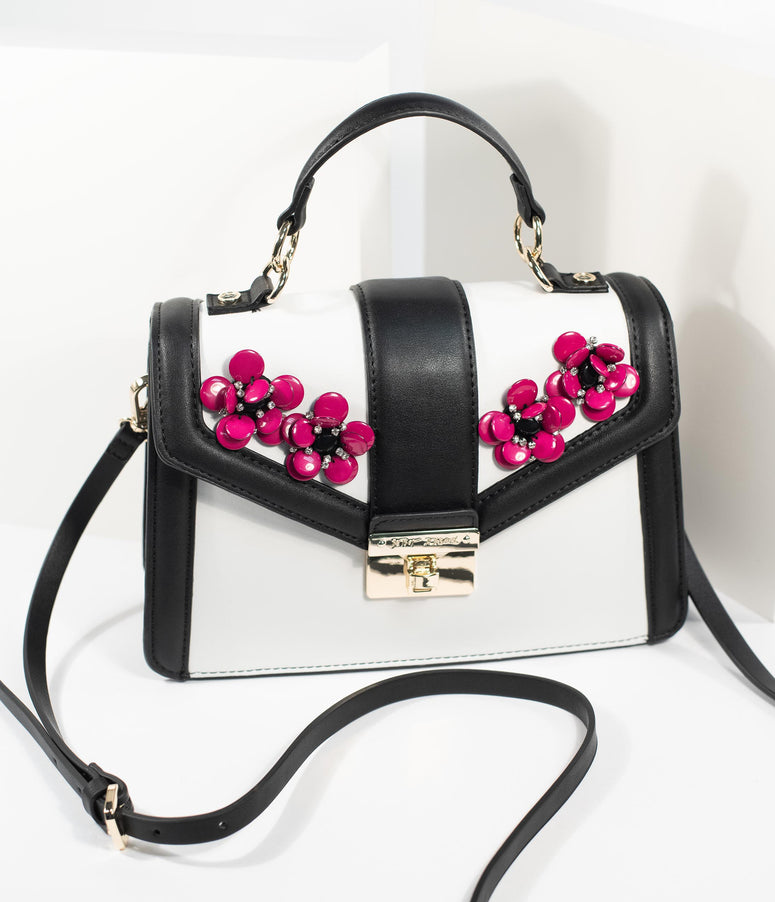 fca32d5b692525 Betsey Johnson Black & White Leatherette Purple Blooming Good Time Handbag